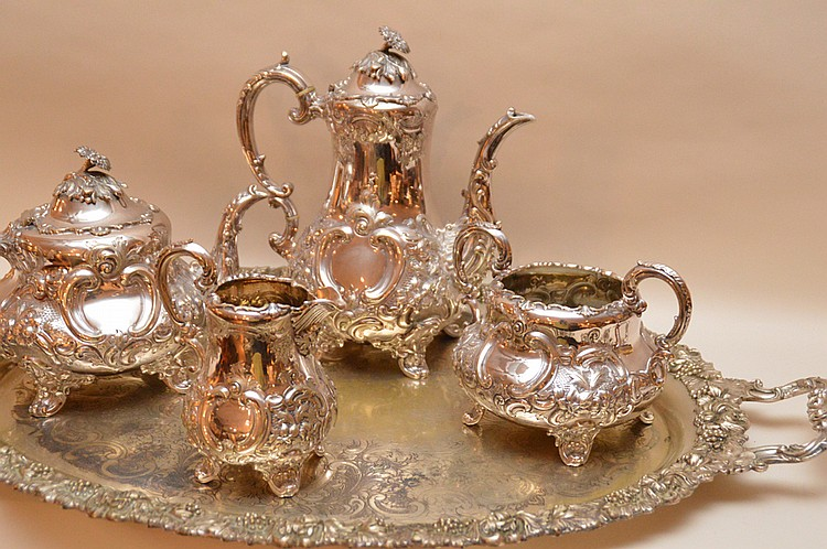 Antique English 4 pc  Silver plated tea service, teapot mark