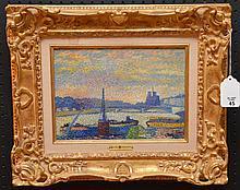 "Lucien Neuquelman (France 1909 - 1988) oil on board, Paris river scene, gallery frame, Wally Findlay Gallery label, 9"" x 13"""