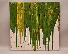 "Sigfredo Chacon (VENEZUELAN, 1950) acrylic on canvas, titled ""Paisaje"" ""Baudscape"" 23-3/4inches x 23-3/4inches (60 x 60cm)"