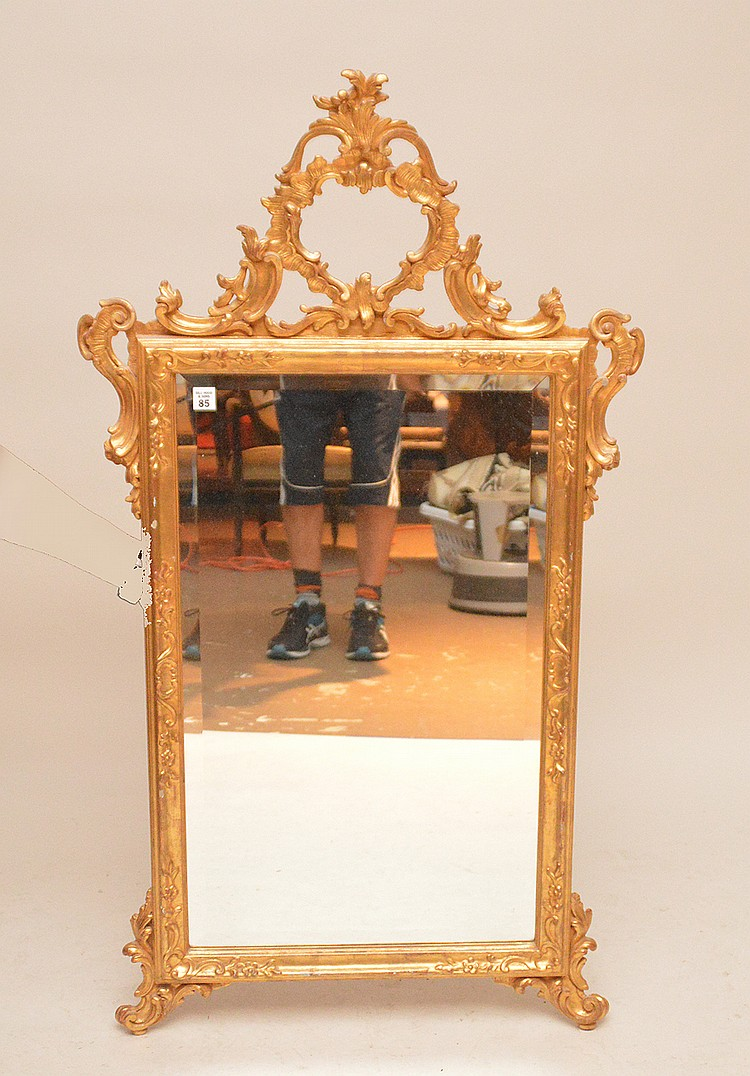 Gilded rococo style mirror 49 h x 27 w for Gilded baroque mirror