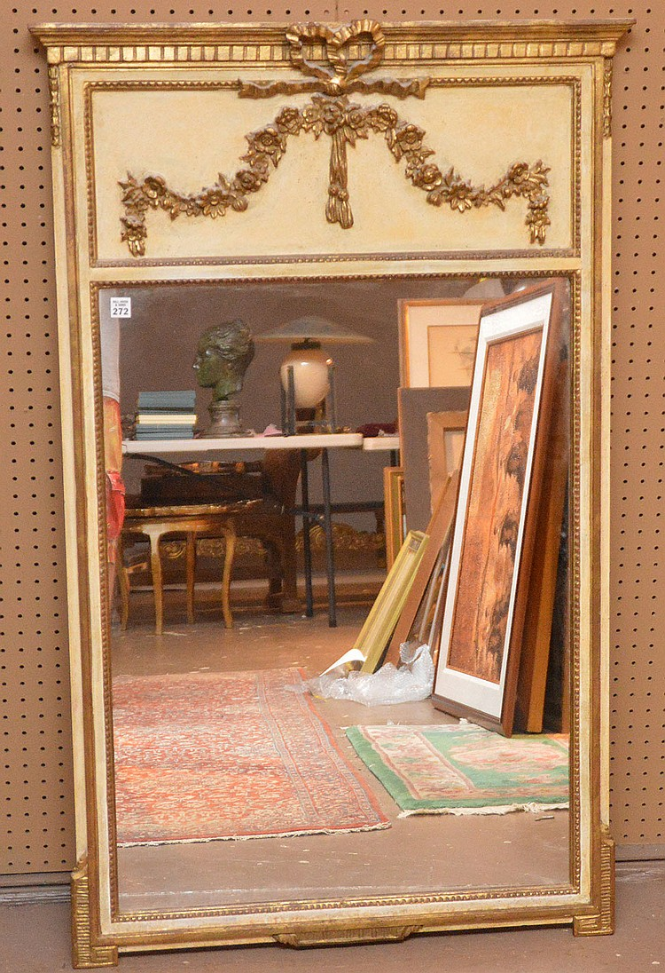 Mirror with gilded garland drape motif 50 1 2 h x 30 w for Mirror 50 x 30