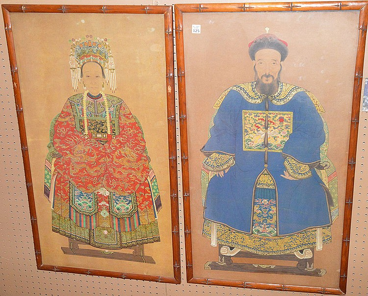 Pair Chinese Watercolor Emperor And Empress Paintings In Bam