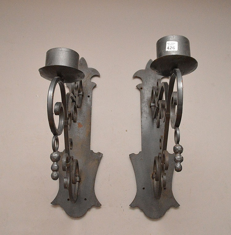 Large Iron Wall Sconces : Pair oversized iron wall sconces, 21