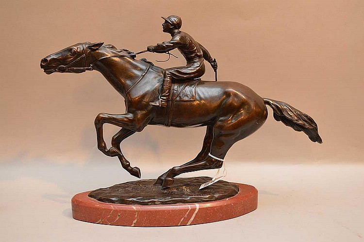 Richard Thuss Bronze Jockey on Horseback Circa 1925 (Austrian died 1945) Condition: good with minor normal wear.  Ht. 12 1/2