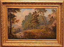 """Henry Hewitt (United Kingdom 1818 - 1875) oil on canvas, Landscape signed and dated 1891, 24-1/2"""" x 37"""""""
