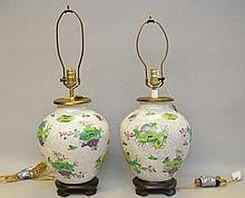 Large Pair of Chinese Vintage Export Hand Painted Bulbous Lamps. 13