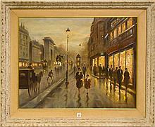 Paris Street Scene signed V.Chevalier, oil on canvas, 24 x 30 inches