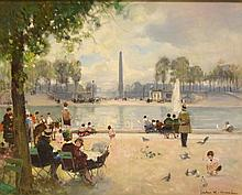 Jules René Hervé (FRENCH, 1887-1981) oil on canvas, Paris Park Scene, canvas size 25 x 32 inches