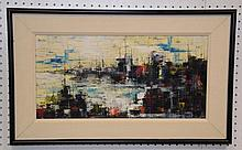Modern Parisian scene signed Wolf '62, canvas size 12 x 23-1/2 inches