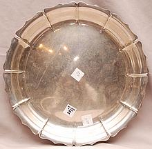 Scalloped sterling tray, 14