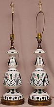 Pair Bohemian green glass hand painted lamps on brass stands, 33