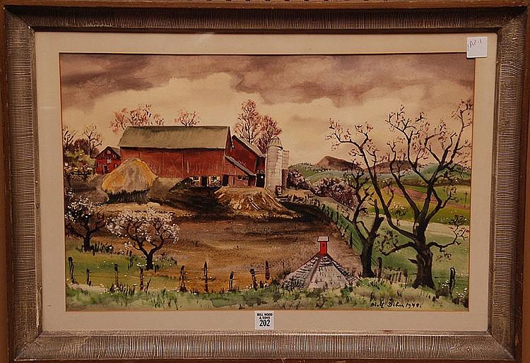 Adolf Arthur Dehn  (New York 1895 - 1968) Watercolor, Landscape Farm Scene w/ large Barn, 13