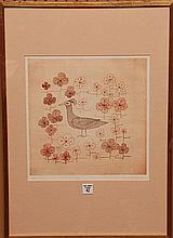 Keiko Minami (JAPANESE, 1911-2004) Bird Etching, pencil signed and numbered 1/50.  sight size 12