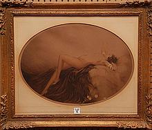 Original Louis Icart (1888 - 1950)  Etching, Reclilning Nude, hand signed and numbered, ca. 1928, 14