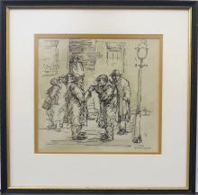 AARON SOPHER, (Maryland/NY, 1905-1972), Ink & Wash/Paper, FIGURES IN A STREET SCENE,