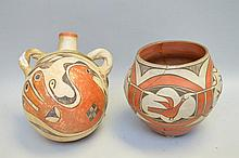 Polychrome Native American Pueblo Pottery Olla & Jug - Zia Pueblo Globular Olla w/ four panels of two different bird designs. Possibly early 1900s. Polychrome is orange, white, and brown/black. 7