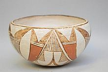 Polychrome Native American Pueblo Pottery Bowl - Globular bowl with orange & black on white. Possibly early 1900's. 6