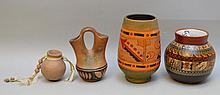 Four Native & South American Repro Pottery Vessels - One doubled spout