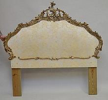 French carved wood & upholstered bed frame, 60