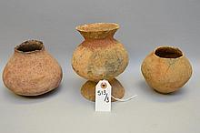 Three Salado Culture Native American Pottery Vessels. Tonto Basin, AZ. Utilitarian ware. Circa ~1200 AD. Two ollas and one unusual flaring necked jar with mirrored pedestal. Largest is 7.25