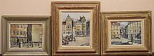 """Set of Three Continental Dutch Paintings . Oil on masonite. Signed indistinctly lower right & dated 53. Several labels verso. Sizes: two 8"""" x 10"""" view, and one 11"""" x 9"""" view"""