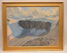 "Jules Jequier (swiss 1834 - 1898) oil on canvas, Aletsch Glacier, 20"" x 26"""