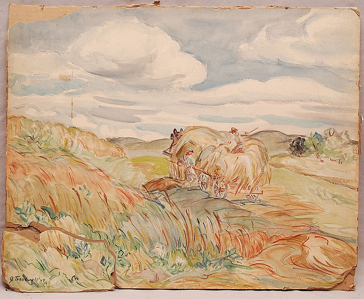 Grace Ansley Treadwell  (American 1893 - 1989) Watercolor , harvesting the hay, 20