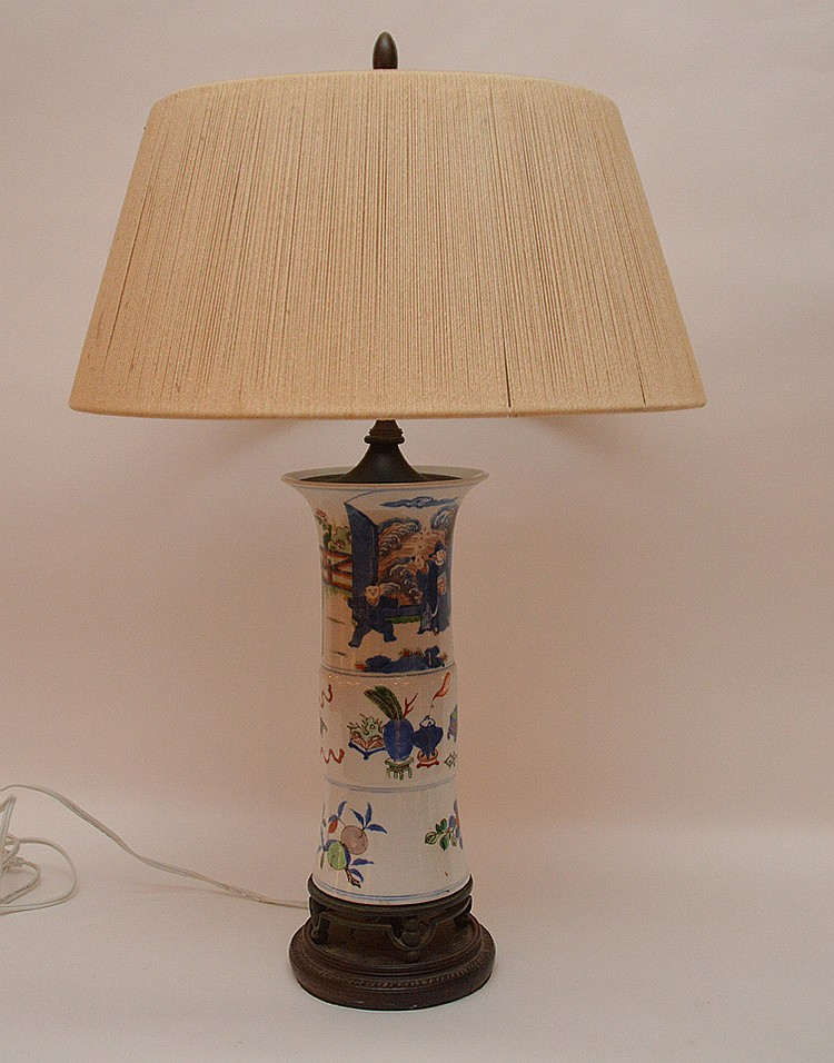 Chinese porcelain lamp with string shade