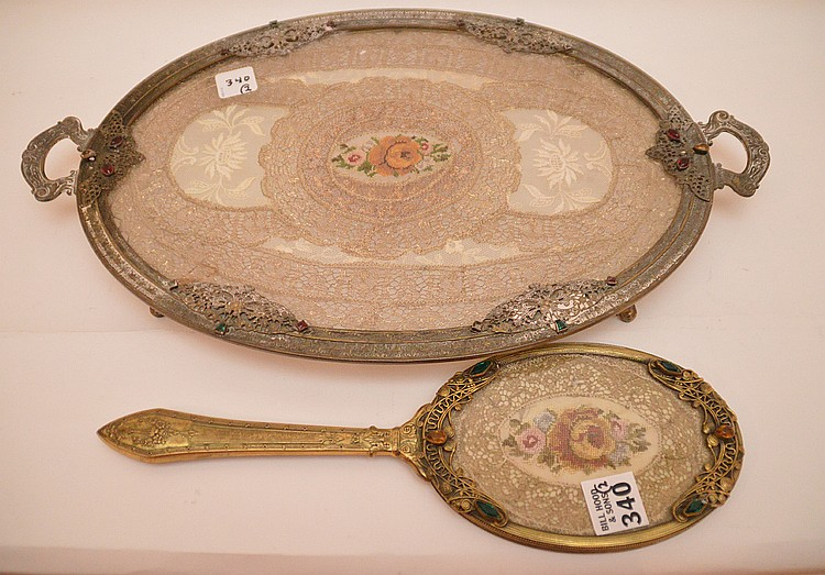 Austrian footed jeweled tray and hand mirror
