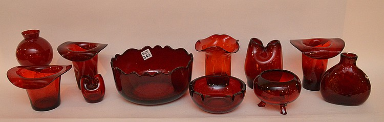 11 pieces assorted red glass