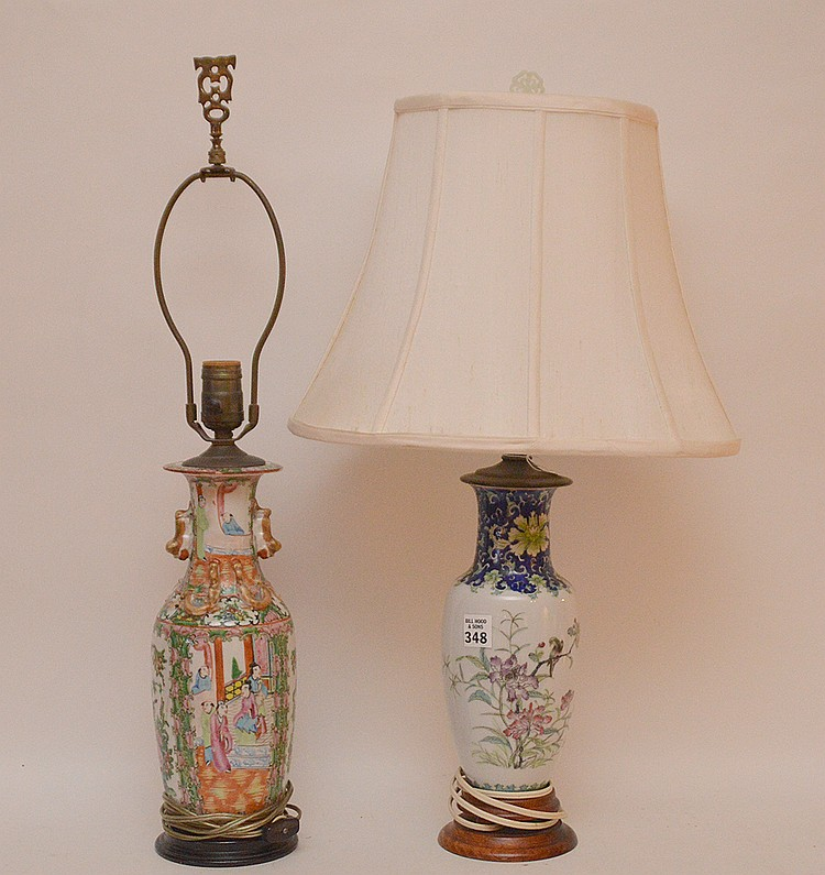 Chinese rose medallion lamp AND porcelain lamp with bird & floral motif