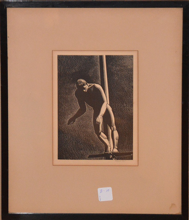 Rockwell Kent (AMERICAN, 1882-1971) 1930 Wood engraving, DIVER. 205x140 mm; 8x5 1/2 inches