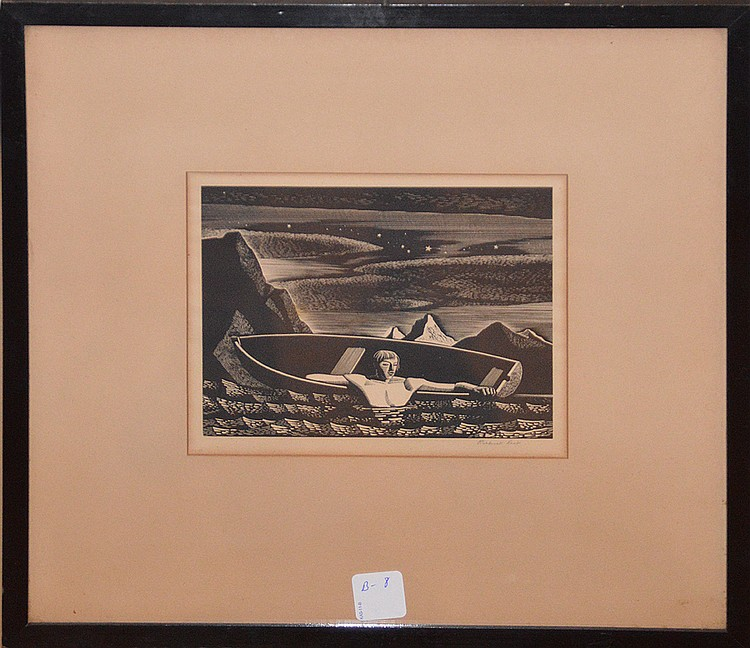 Rockwell Kent (AMERICAN, 1882-1971) 1930 Wood engraving, Deep Water (Jones, #87) Date: 1931, Dimension: 5 3/8 x 6 7/8 inches