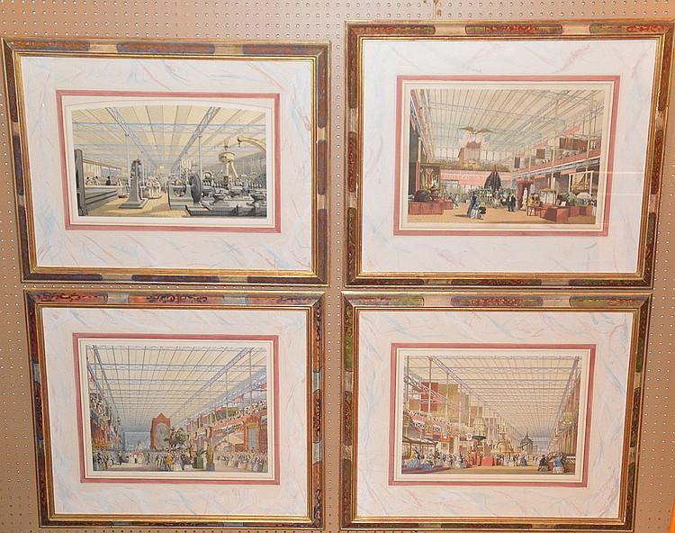 CRYSTAL PALACE LOT: Joseph Nash (England, 1809-1878). A group of 5 color lithographs, Views of the Crystal Palace, each is approx. 26inches x 33inches overall. SOLD WITH COLLEC