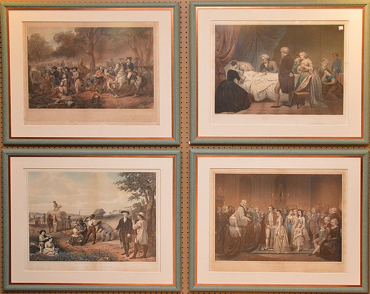 A Complete set of the four lithographs of THE LIFE OF GEORGE WAHINGTON, published by goupil and knoedler in 1853 after paintings by Junius Stearns.  20inches x 25inches -sight,