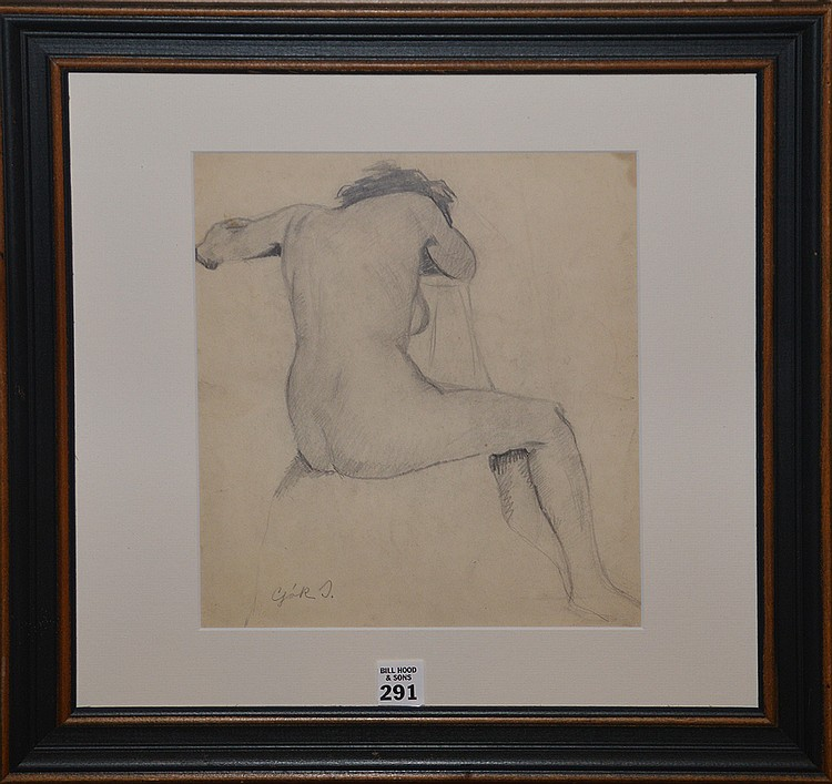 Attributed to: Istvan Csok (Hungarian 1865-1961) female nude, pencil on paper, signed, image size 11 x 9 ½