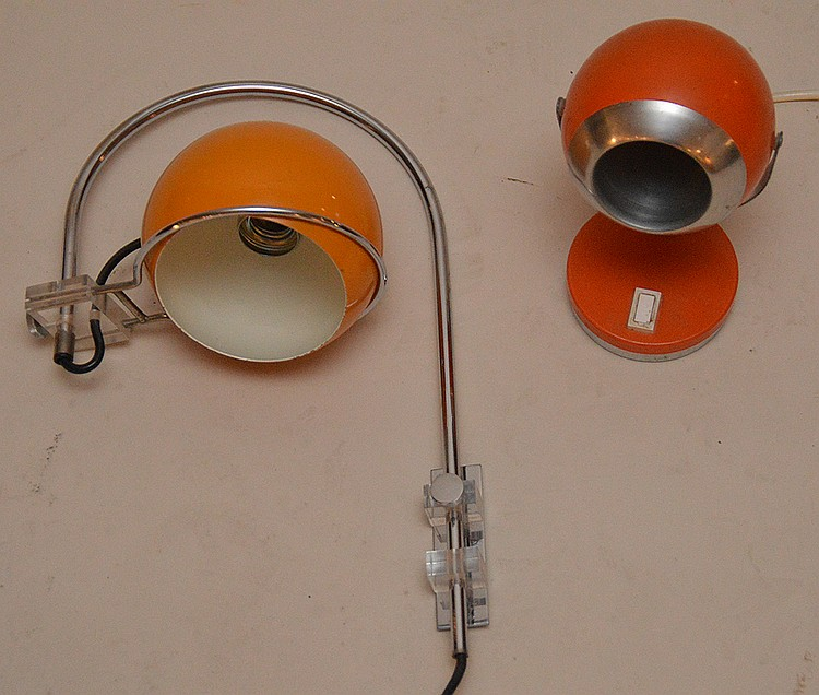 2 Colored can vintage lamps, Italian