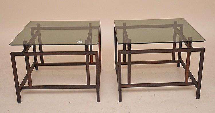 Pair modern end tables, Henning Novgaard For Komfort, smoke color glass top, 15