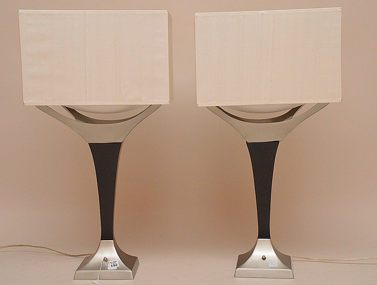 Pair modern lamps with polished chrome/steel and ebony wood, 21