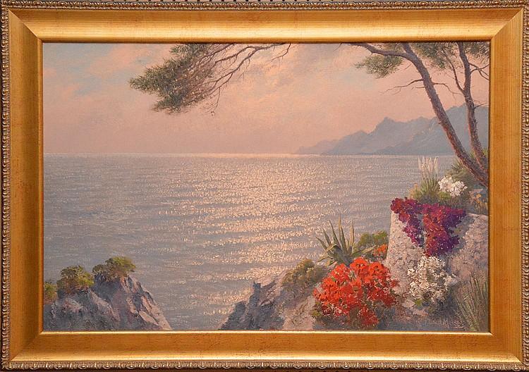 "JACOB LAWRENCE VAN DER MEIDE, Dutch 1910-1987, ""Mediterranean Coast Scene"", oil on canvas 25"" x 36  ½"", signed lower right, framed."