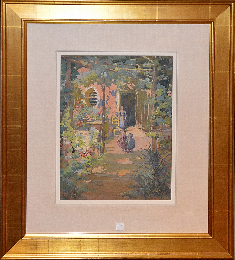Harriette Bowdoin (AMERICAN, 1880-1947) Gouache - courtyard with Kids, 20in. x 14in. Sight