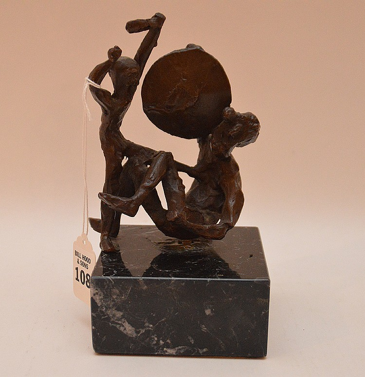Small Bronze grouping on marble base, 7 1/2