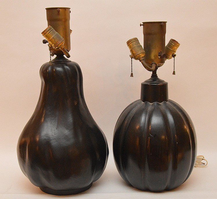 2 black matte finish gourd lamps, Billy Baldwin décor, 15