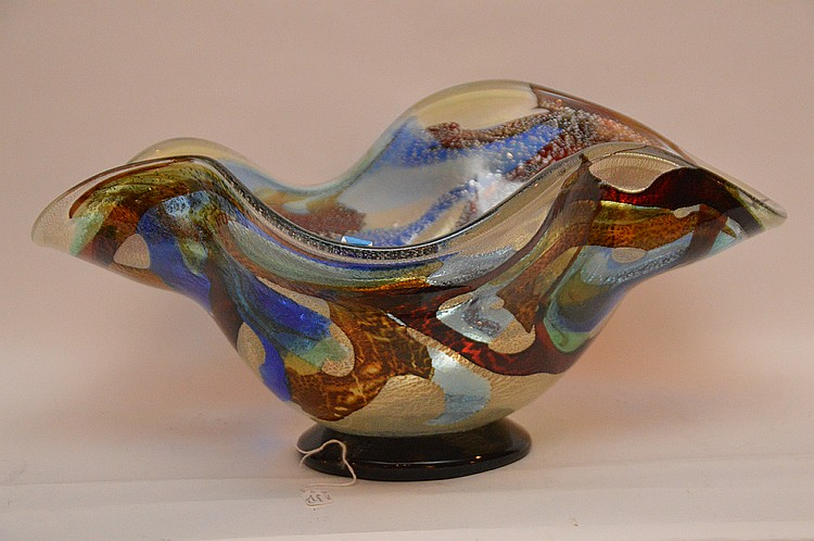 Murano glass free form center piece bowl, signed, 9 1/2