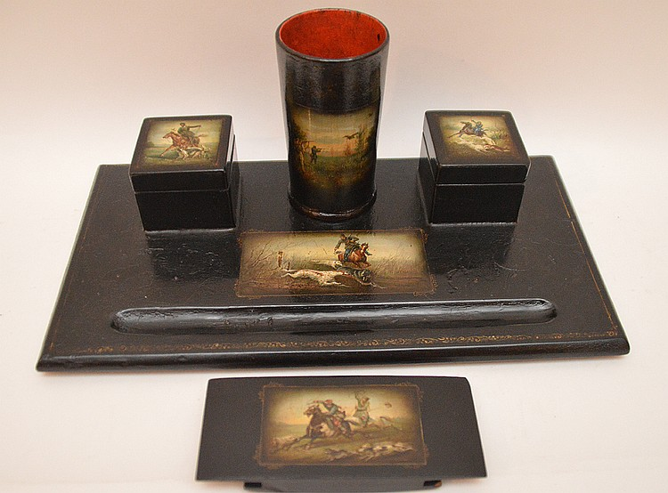 Russian Lacquer Painted Paper Mache Desk Set.  Made by the Luctin Factory  7 1/2