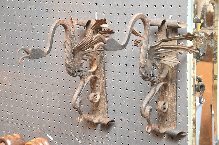 Pair Cast Iron Wall Brackets possibly Mizner.  The pair came from a Palm Beach Island Estate.  Ht. 14