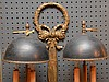 Bronze Two Arm Six Light Electrified Sconce with tole shades.  Ht. 34
