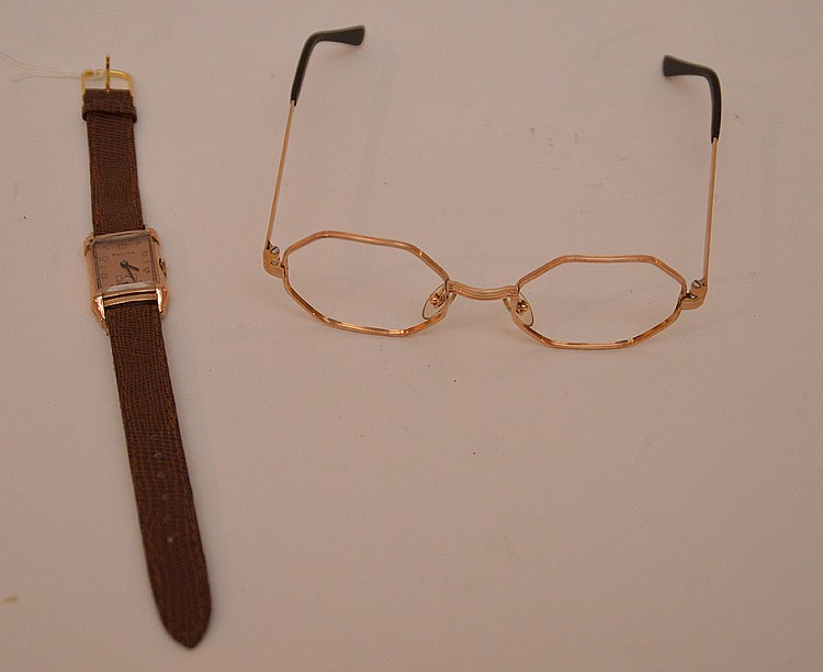 French 14K Yellow Gold Spectacle Frames. Together with a Bulova 14K Gold Filled Watch with leather band. Lth. 8 1/2