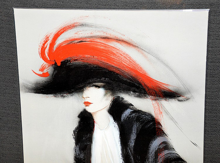 Large painting over print on heavy paper, woman w/ fancy hat on, picture size is 55inches x 27inches 242/300