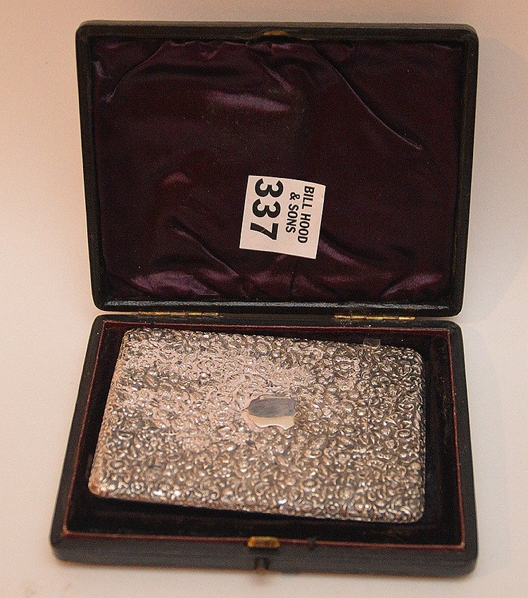 English sterling repousse card case, 3 3/4